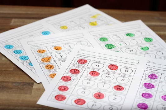 On the Uppercase and lowercase letter match Dot It Worksheets