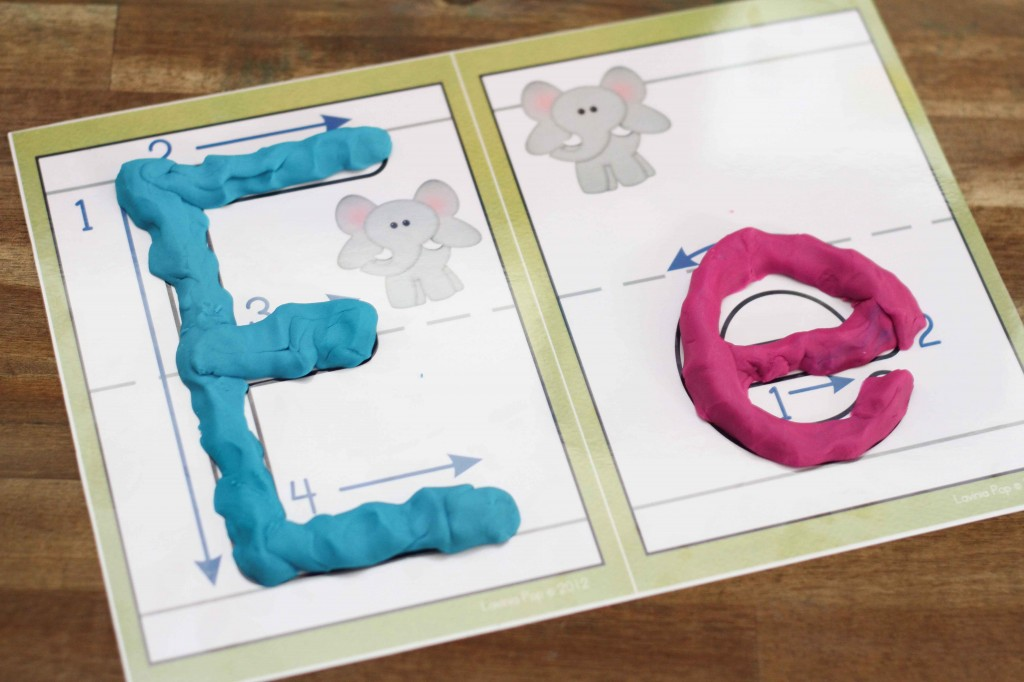 Preschool Letter of the Week E - play dough mats