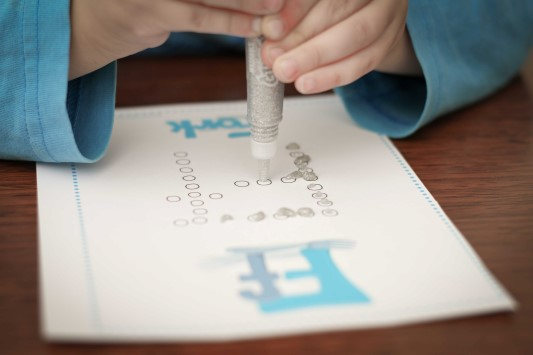 Letter of the Week F Q-Tip Painting with glitter glue pens