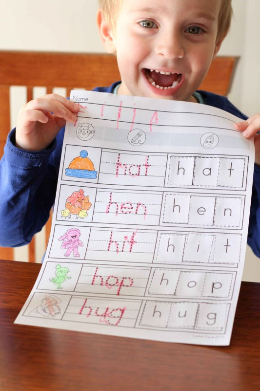 Preschool Letter H CVC worksheet cut and paste