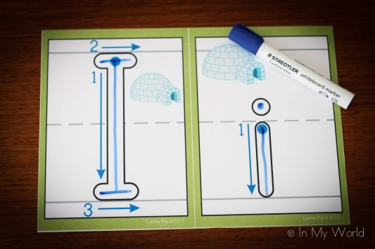 Preschool Letter I playdough mats