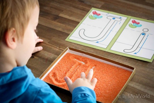 Preschool Letter J Salt Tray Writing