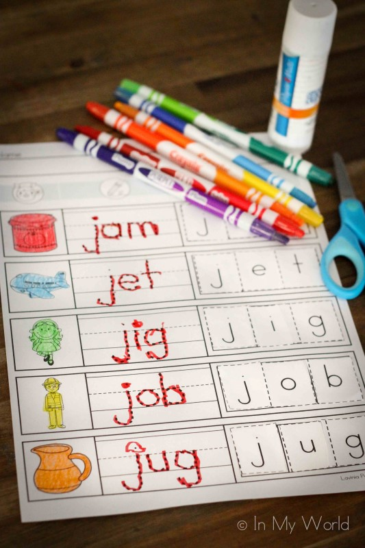 Preschool Letter J CVC cut ans paste worksheet