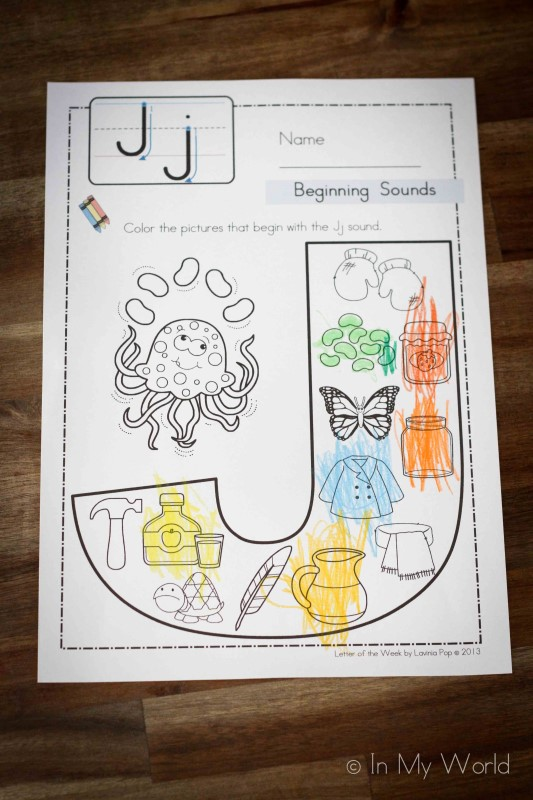 Preschool Letter J Beginning Sounds Color It