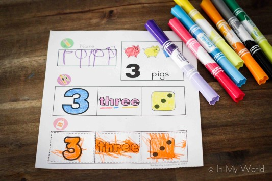 Preschool Numbers cut and paste