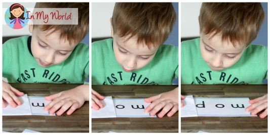In My World Preschool Letter M CVC Word Slider cards