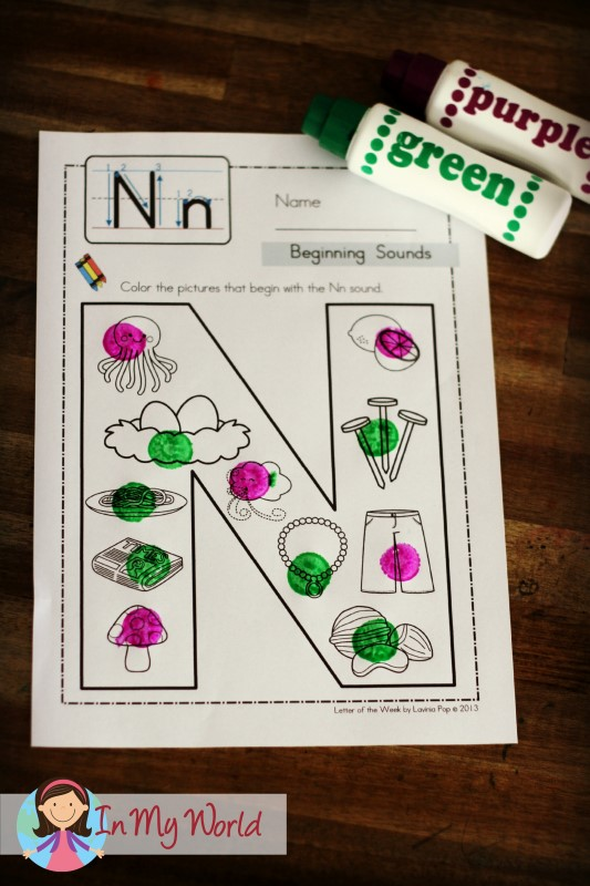 In My Word Beginning Sounds with dot-paints