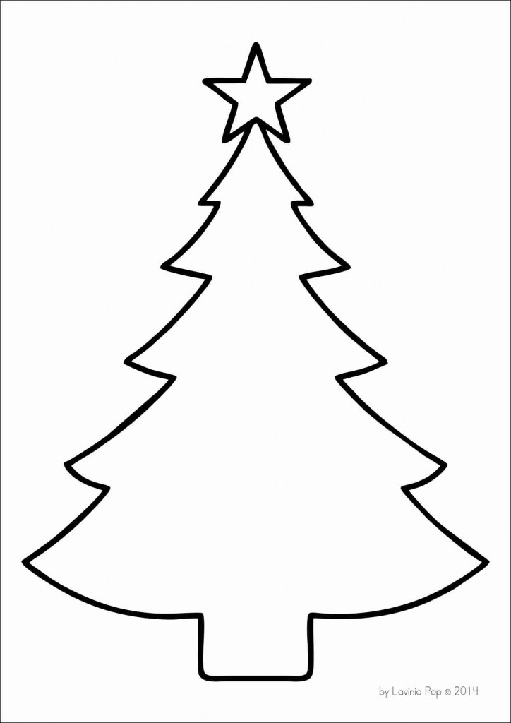 Christmas Tree Template on Triangle Shape Coloring Page