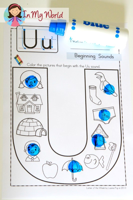 Worksheets Letter U Word For Preschool preschool letter u in my world free beginning sounds worksheet