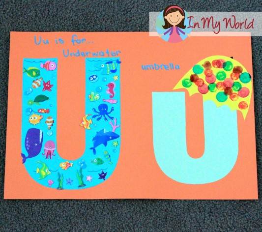 FREE Letter templates for alphabet crafts - underwater and umbrella