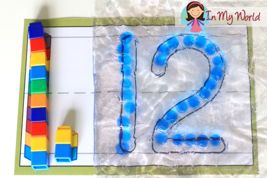 Preschool Number 12 Play Dough Mat with gel beads and unifix cubes