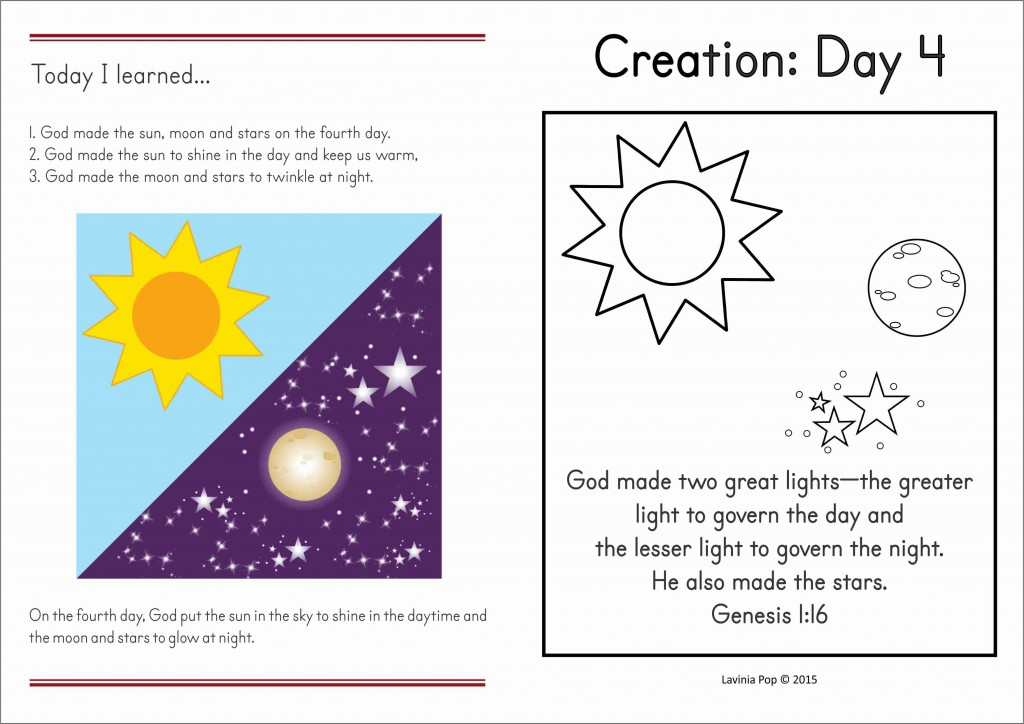 FREE Day 4 Creation take home booklet