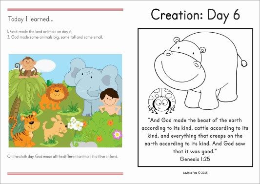 Sunday School Creation Day 6 Take Home Page
