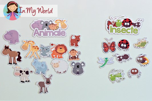 FREE Animal sorting printables and cut and paste activity (English and Romanian versions)