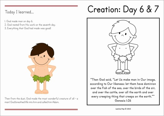 Sunday School Creation Man And Day Of Rest In My World