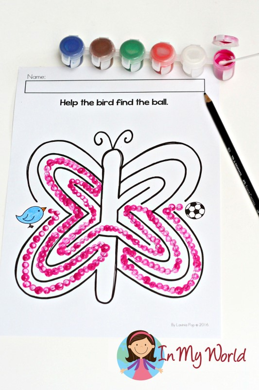 Free Alphabet Picture Maze Butterfly