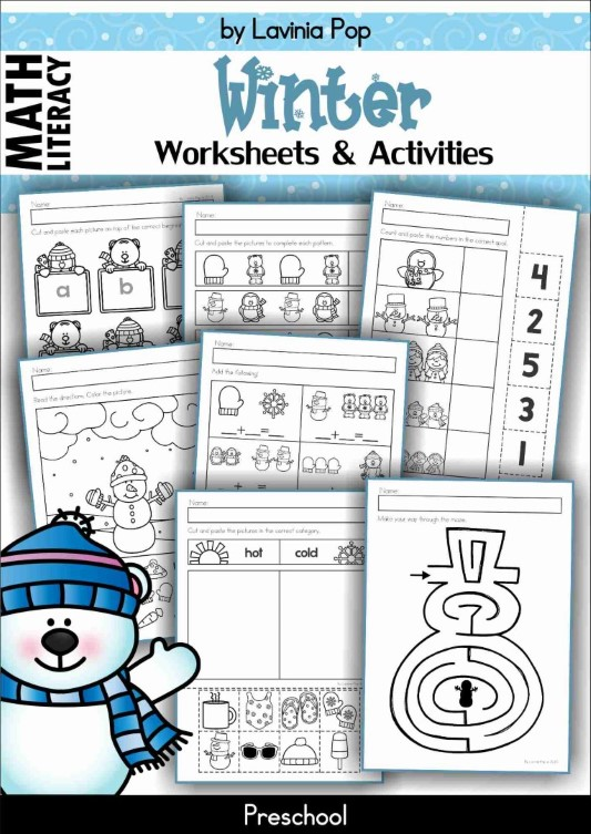 Preschool Math and Literacy Worksheets - Winter