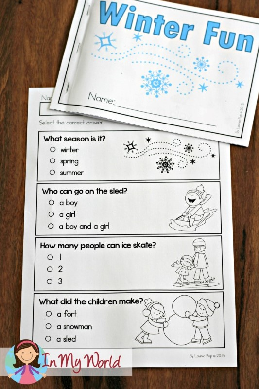Preschool Winter Activities Reading Comprehension literal comprehension