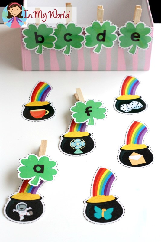 FREE St. Patrick's Day Beginning Sounds. Add pegs to the shamrocks to make it a fine motor activity