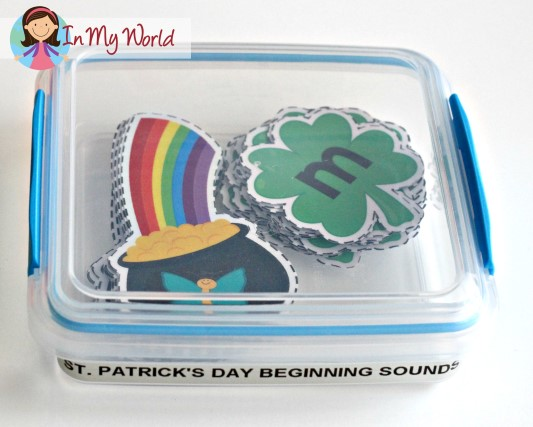 FREE St. Patrick's Day Beginning Sounds. Storage container