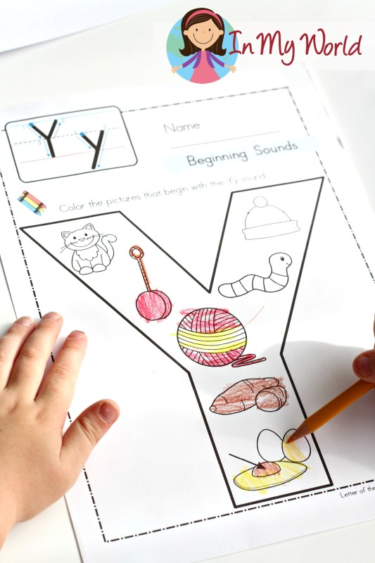 Preschool Letter Y Beginning sounds coloring page