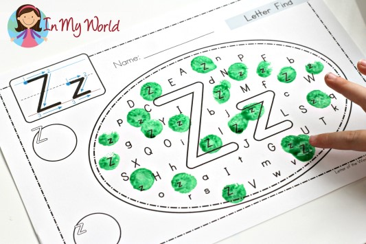 Preschool Letter Z FREE letter find activity