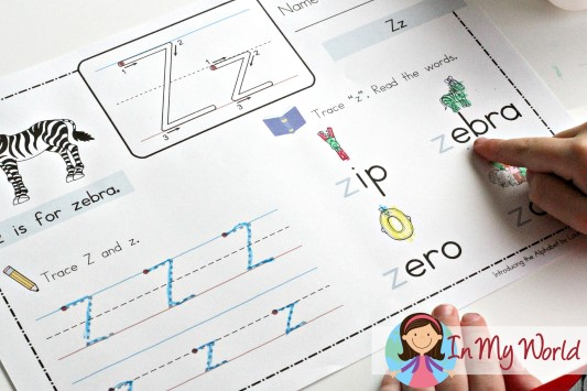 Preschool Letter Z FREE handwriting and reading page