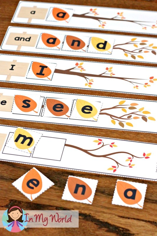 FREE Autumn / Fall Preschool Centers sight words