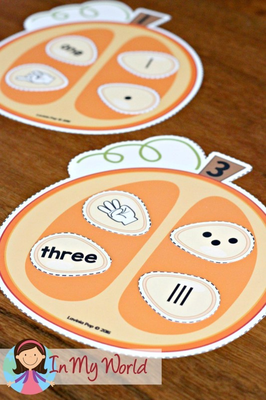 FREE Autumn / Fall Preschool Centers pumpkin seed number sorting