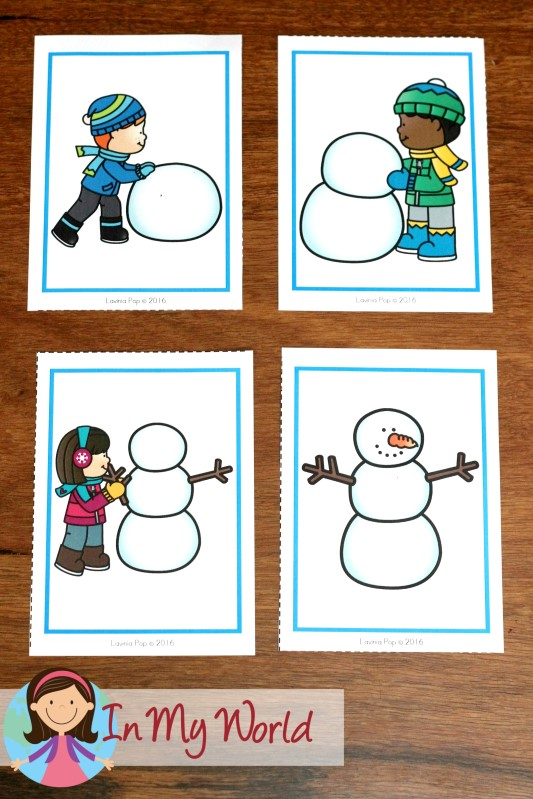 Winter Preschool Center Activities: Building a Snowman sequencing cards