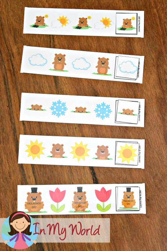 Groundhog Day Preschool Centers Patterns