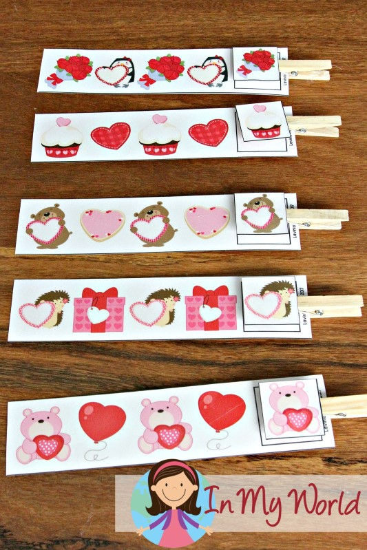 Preschool Valentine's Day Centers AB pattern cards