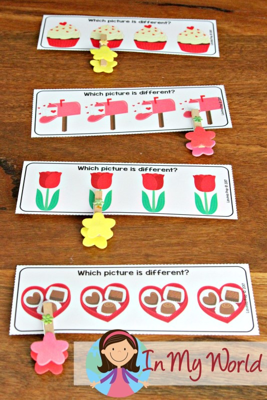 Preschool Valentine's Day Centers Which picture is different?