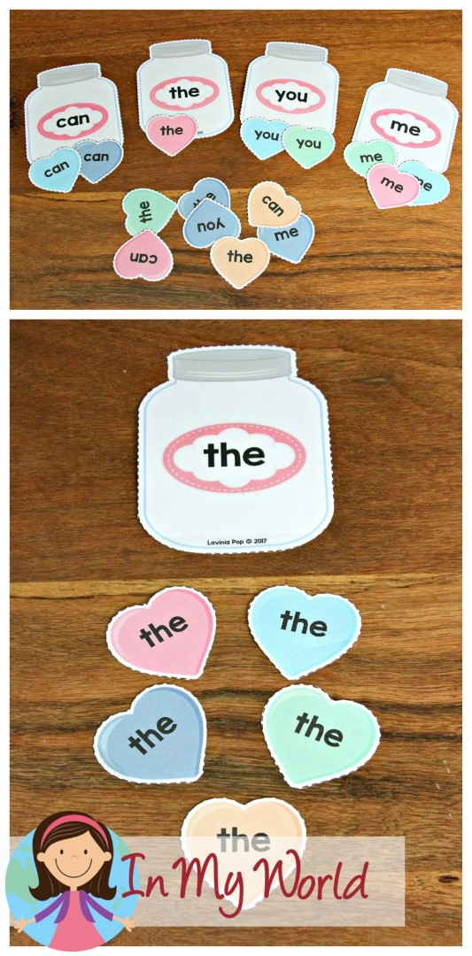 FREE Preschool Valentine's Day Centers Sight Words Sorting