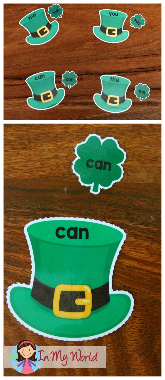 FREE St. Patrick's Day Preschool Centers Hat and shamrock sight word mathcingmatching