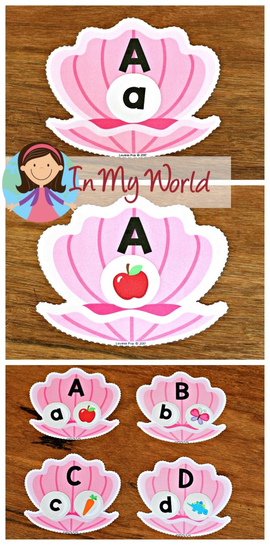 FREE Ocean Preschool Centers oyster and pearl alphabet and beginning sounds matching activity