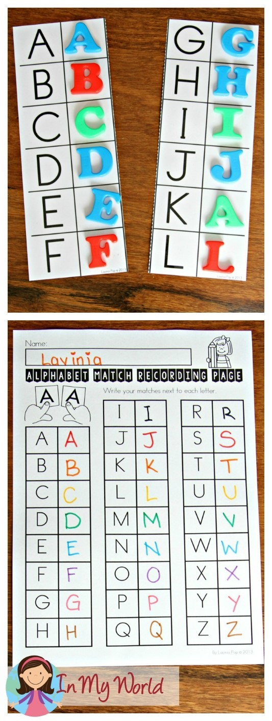 FREE Back to School Literacy Centers for Kindergarten alphabet matching activity
