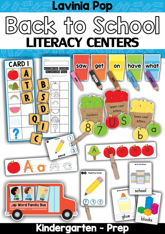 FREE Back to School Literacy Centers for Kindergarten