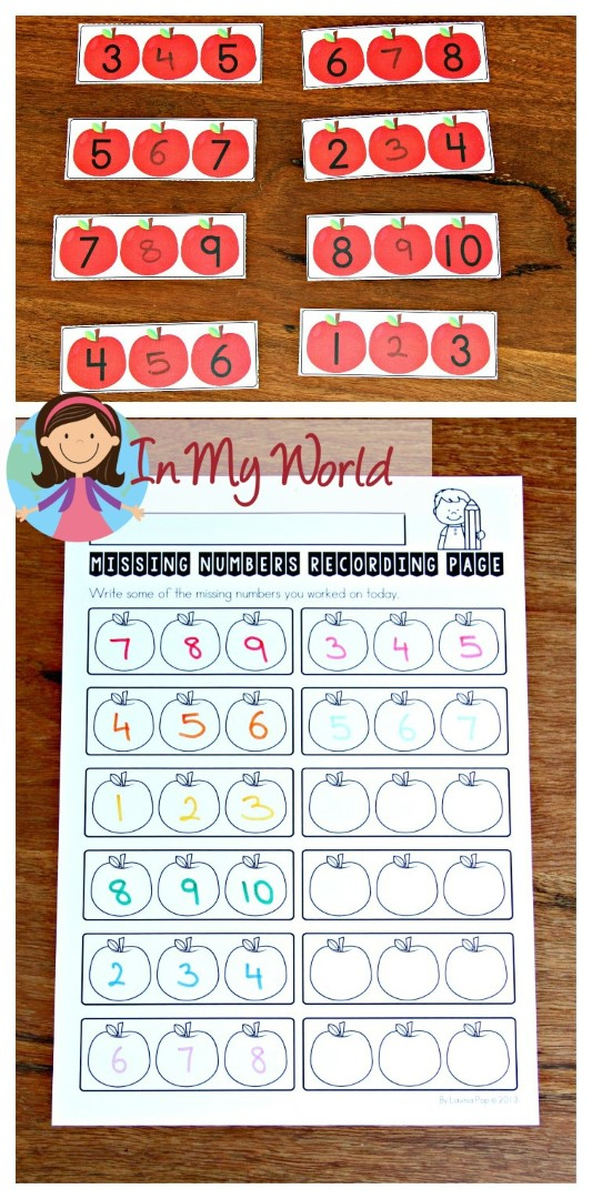 FREE Back to School Math Centers for Kindergarten. Missing numbers activity.