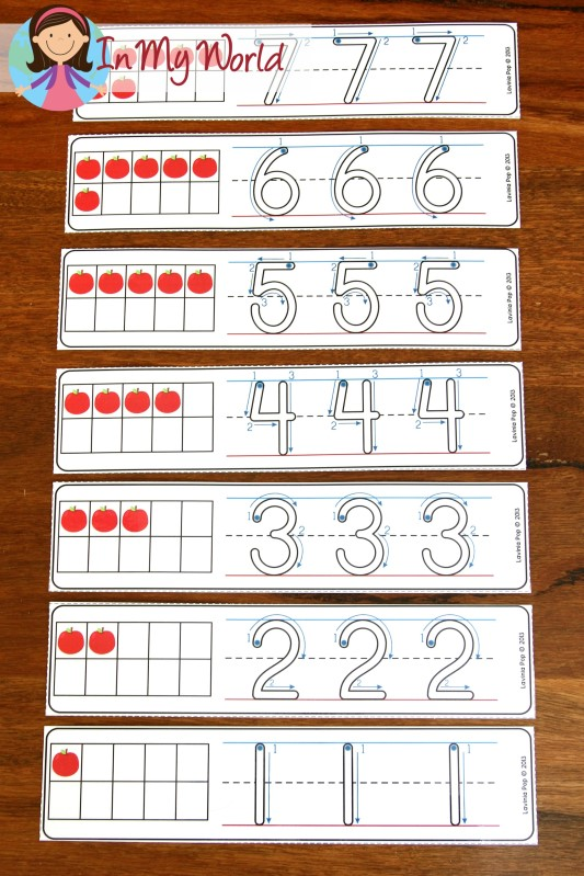 FREE Back to School Math Centers for Kindergarten. Number tracing activity.