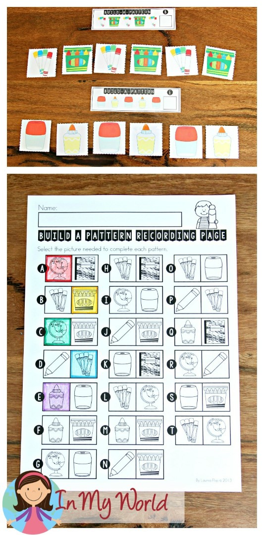 FREE Back to School Math Centers for Kindergarten. Building patterns activity.