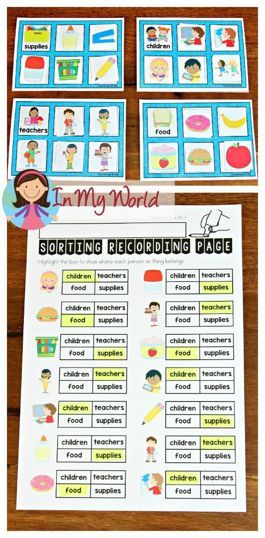 FREE Back to School Math Centers for Kindergarten. Sorting activity.