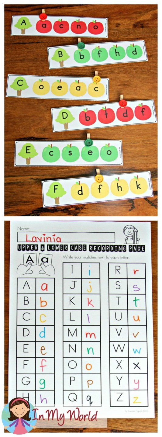 FREE Back to School Literacy Centers for Kindergarten lower case and upper case letter macthing