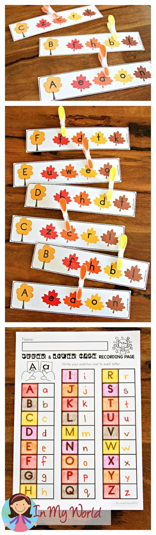 FREE Autumn Literacy Centers for Kindergarten. Upper and lower case leaves letter match.
