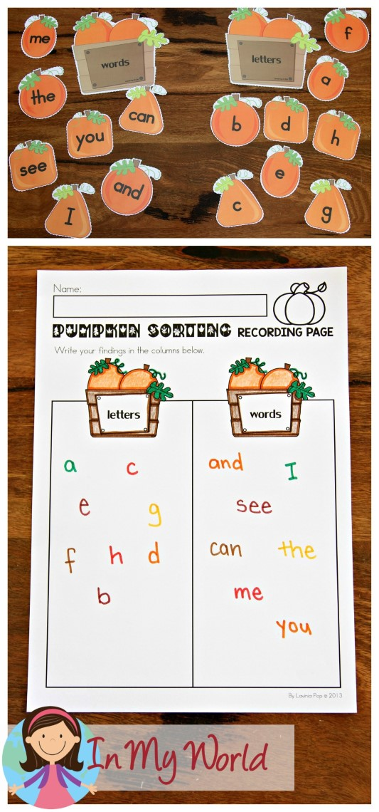 FREE Autumn Literacy Centers for Kindergarten. Letter and Word sorting pumpkins.