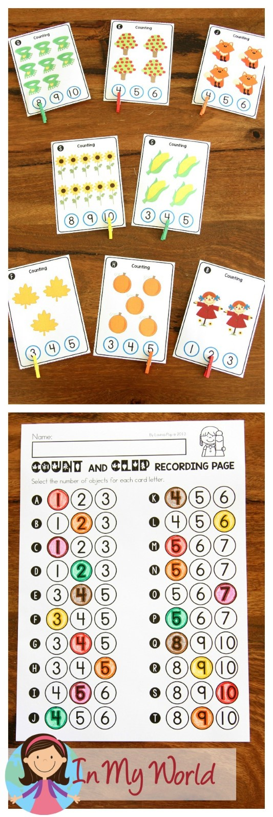 FREE Autumn / Fall Math Centers for Kindergarten. Count and clip cards.