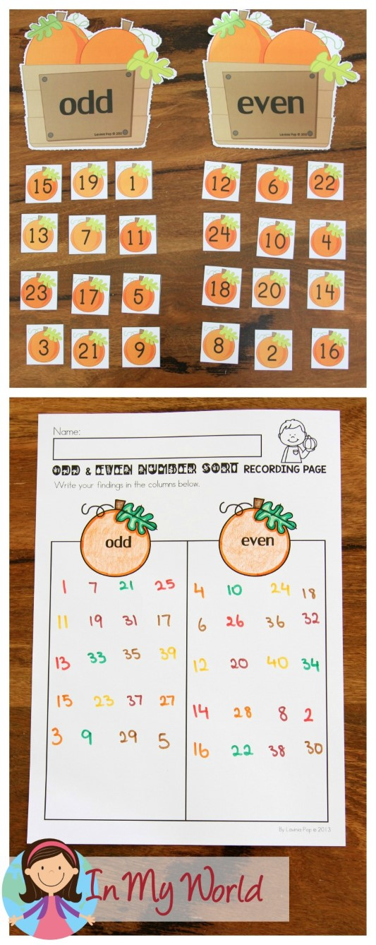 FREE Autumn / Fall Math Centers for Kindergarten. Odd and Even pumpkin number sorting activity.