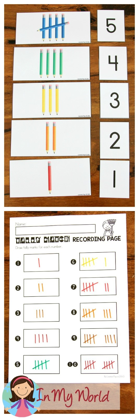FREE Autumn / Fall Math Centers for Kindergarten. Pencil tally marks matching activity.