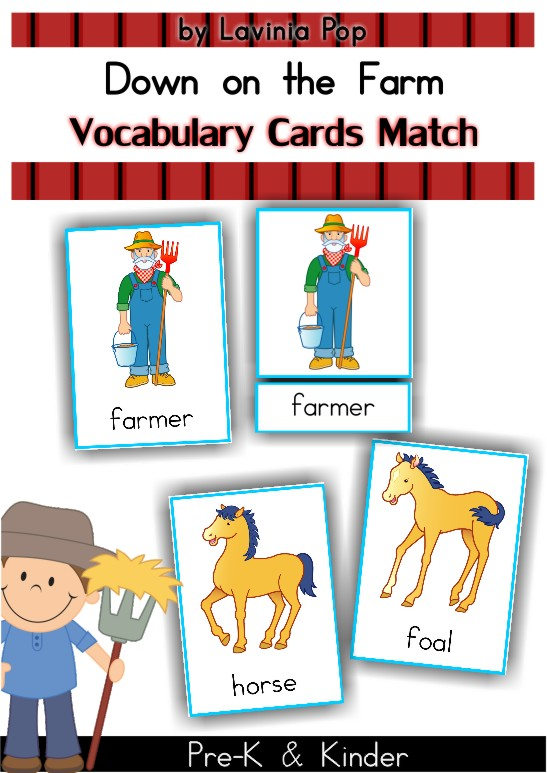 Free On the Farm Vocabulary and 3 part cards