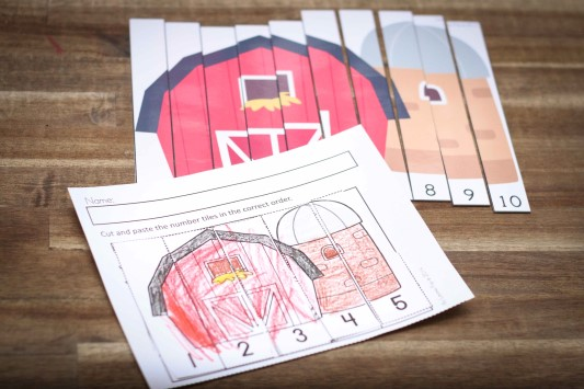 On the Farm Number Puzzle cut and paste Worksheets